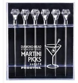 Prodyne Stainless Diamond-Head Cocktail Picks Set of 6