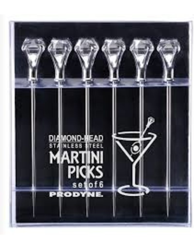 Prodyne Stainless Diamond-Head Cocktail Picks Set of 6
