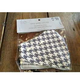 Howards Face Mask with Replacement Filter, Gray Houndstooth