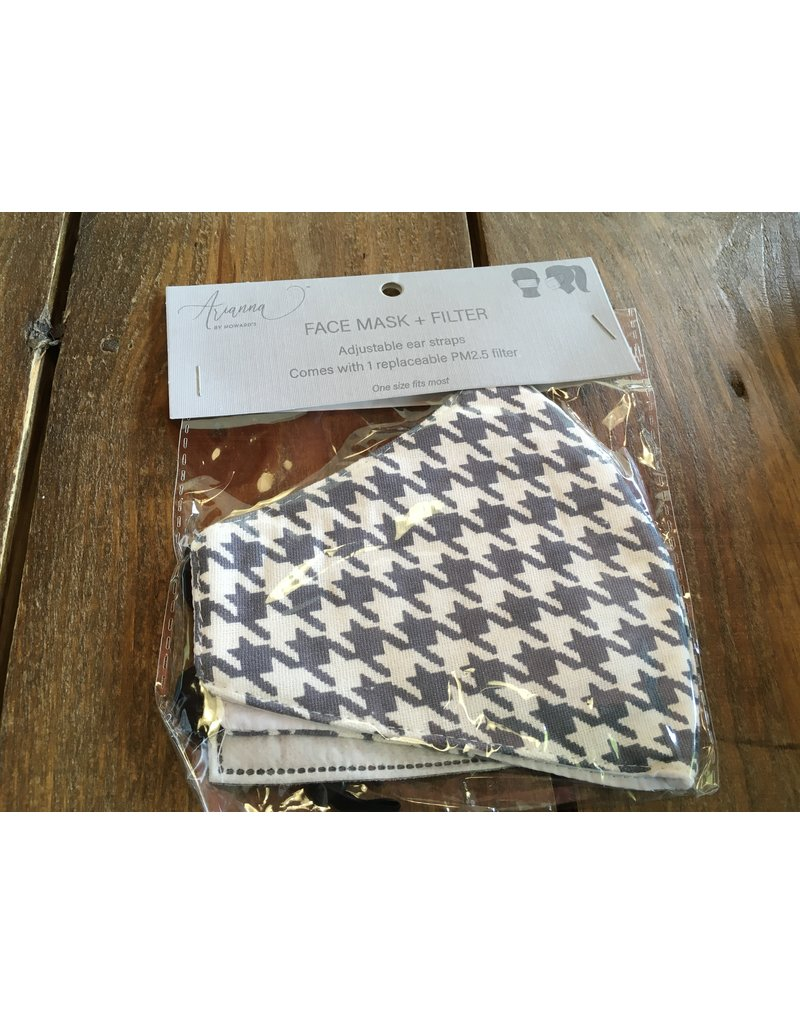 Face Mask with Replacement Filter, Gray Houndstooth