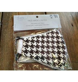 Face Mask with Replacement Filter, Black Houndstooth