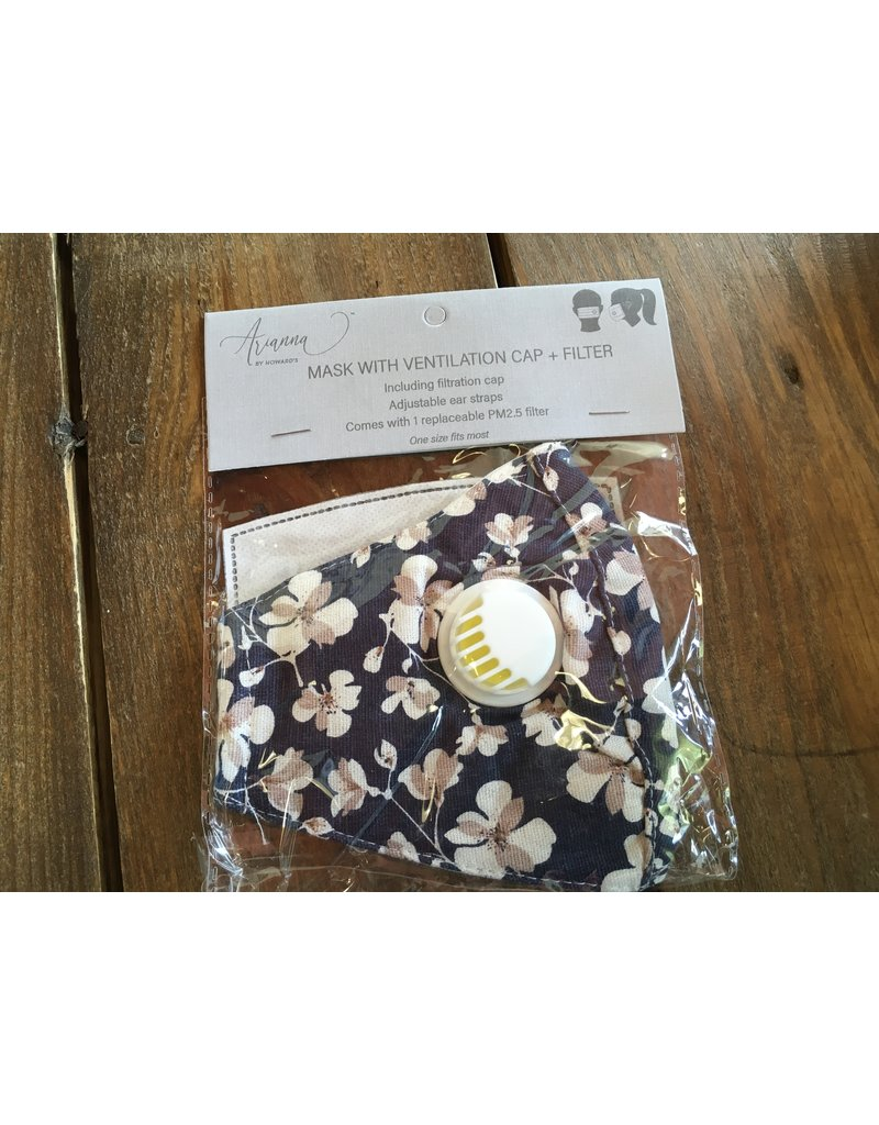 Face Mask with Vent & Filter, Navy Floral