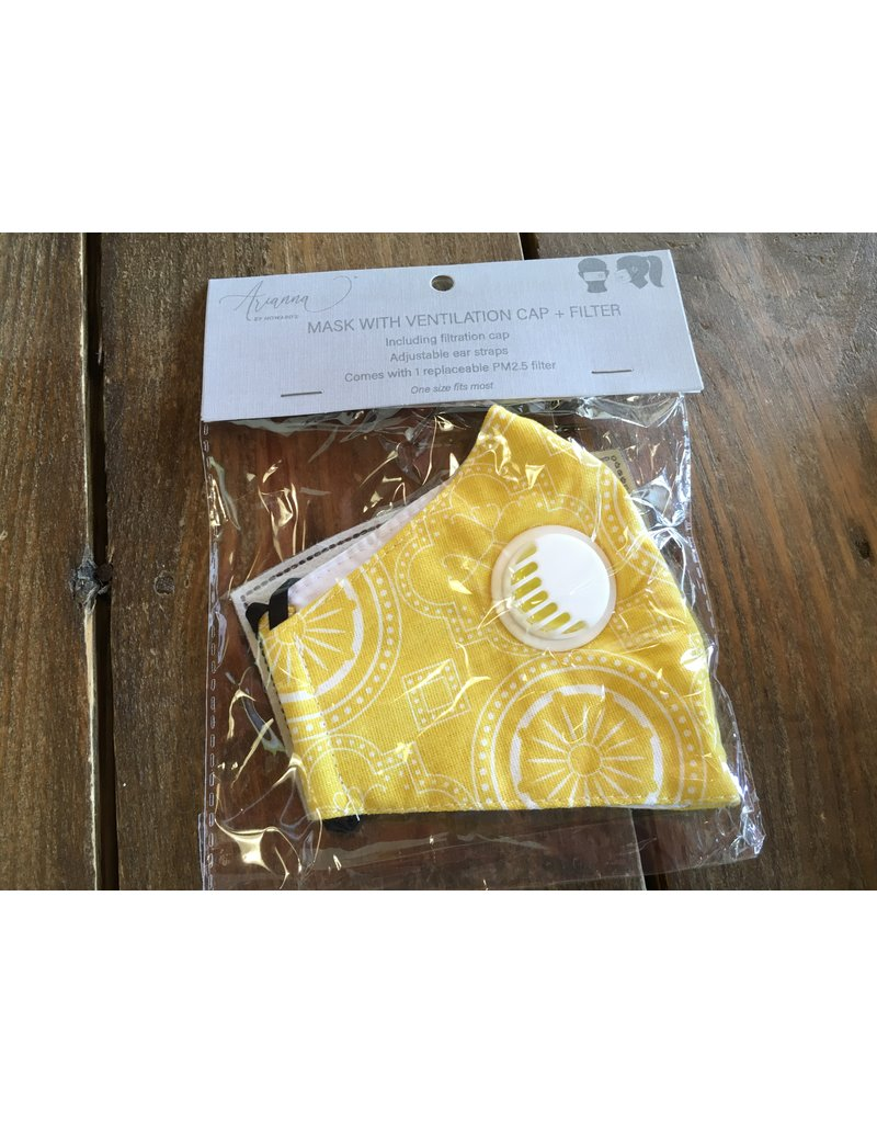 Face Mask with Vent & Filter, Yellow