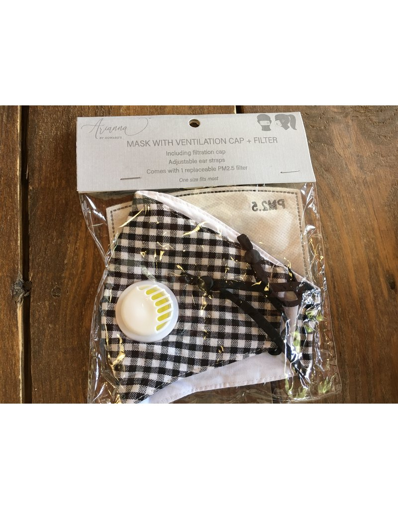 Face Mask with Vent & Filter, Black Checkered