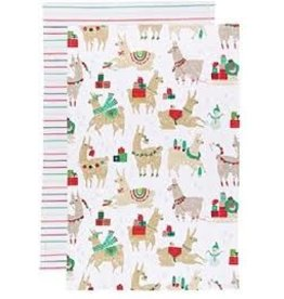 Now Designs Holiday Dish towels FaLaLaLa Llama, Set of 2