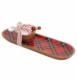 Mudpie Holiday Tartan Santa Tray and Dip Set, 3pc