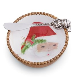 Mudpie Holiday St Nick Tartan Dip Bowl Set, 2pc, santa