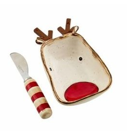 Mudpie Holiday Farmhouse Christmas Dip Bowl and Spreader, REINDEER