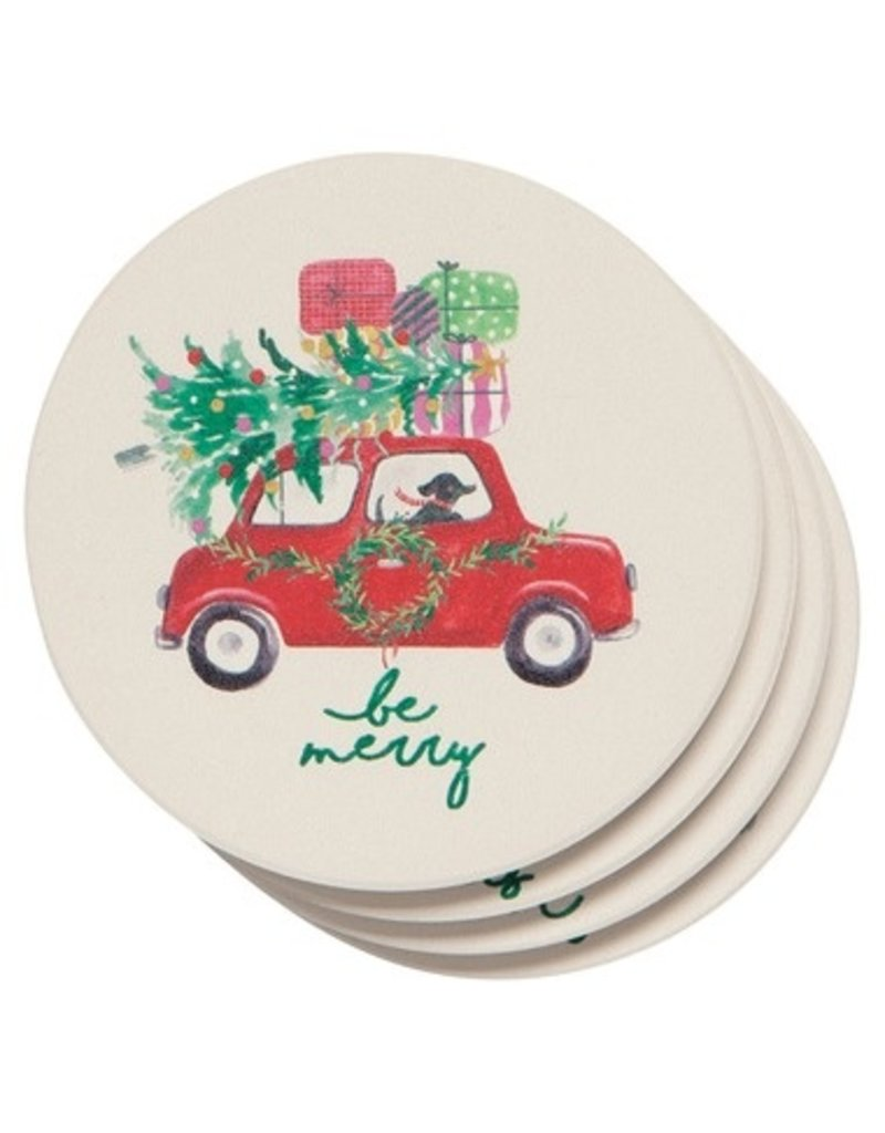 Now Designs Holiday Soak-Up Coasters, Winter Wheels, Set of 4