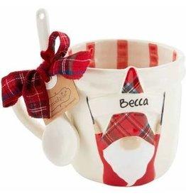 Mudpie Holiday Personalized Gnome Mug Set, striped