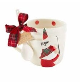 Mudpie Holiday Personalized Gnome Mug Set, dots