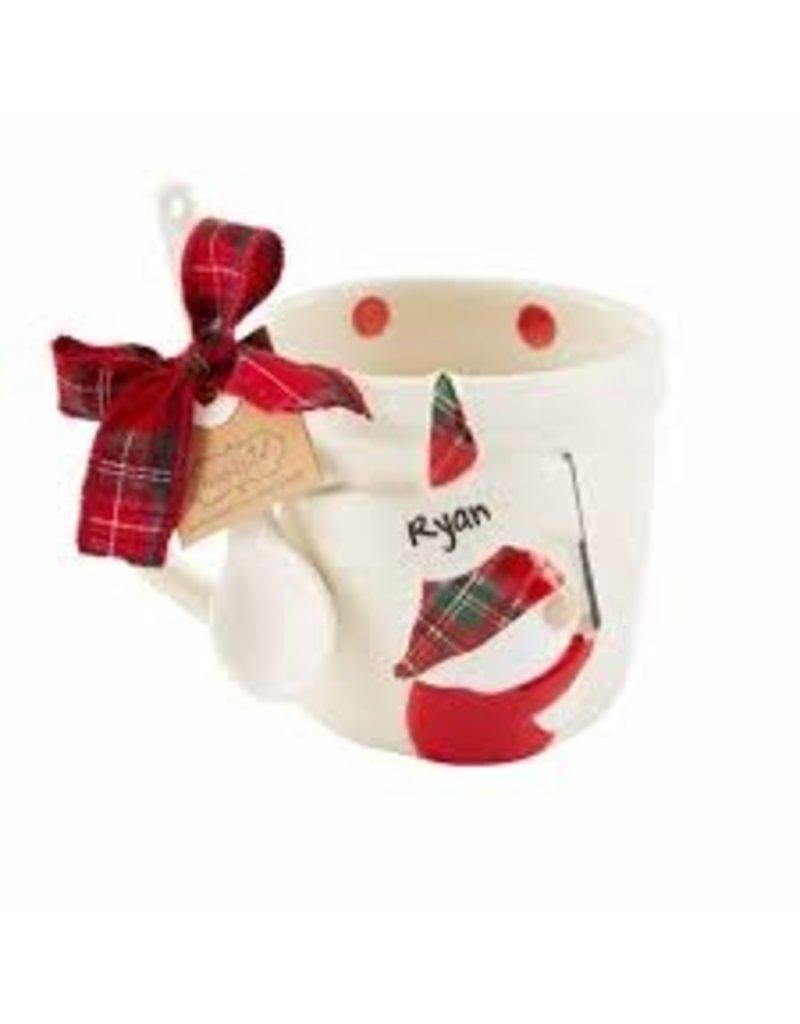 Mudpie Holiday Personalized Gnome Mug Set, dots