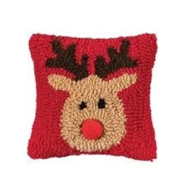 C and F Home Holiday Pillow Reindeer Games, hooked 8x8