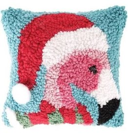 C and F Home Holiday Pillow Christmas Flamingo, hooked 8x8