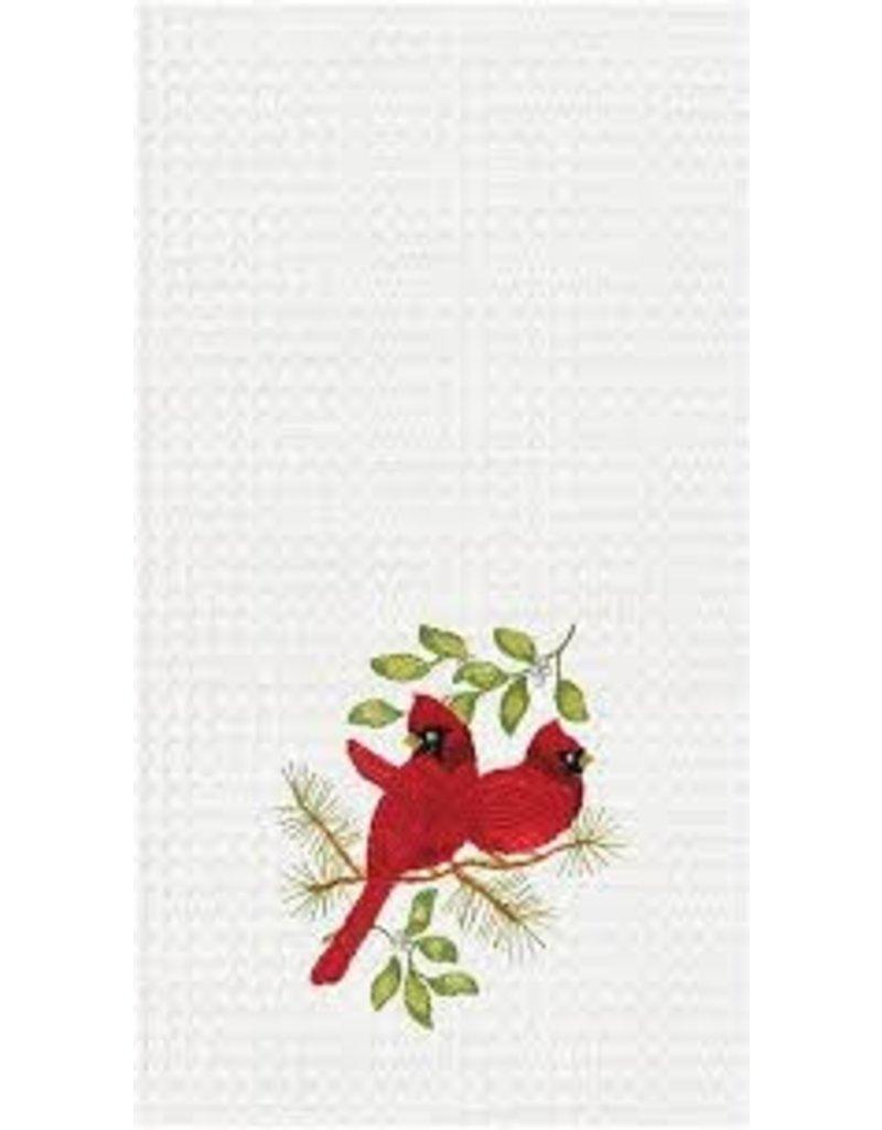 C and F Home Holiday Dish Towel Song Bird Cardinals