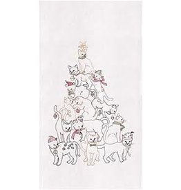 C and F Home Holiday Dish Towel Cat Christmas Tree