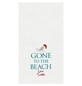 C and F Home Holiday Dish Towel Gone To The Beach Santa