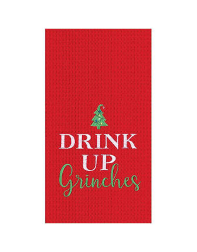 C and F Home Holiday Dish Towel Drink Up Grinches