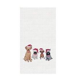 C and F Home Holiday Dish Towel Dog Santa Hats