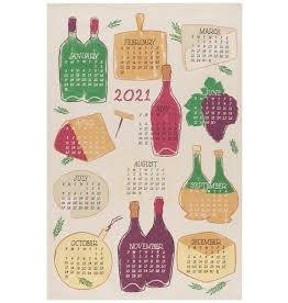 Now Designs Holiday Dish towel, Wine Year 2021 disc