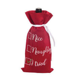 C and F Home Holiday Wine Bag Nice Naughty I Tried
