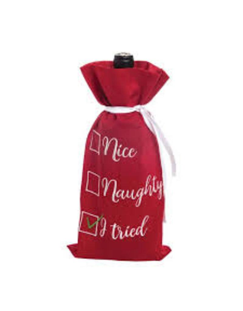 C and F Home Holiday Wine Bag Nice Naughty I Tried