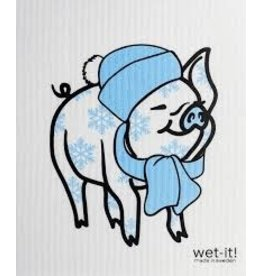 Wet-It Swedish Dish Holiday Pig in Scarf & Hat