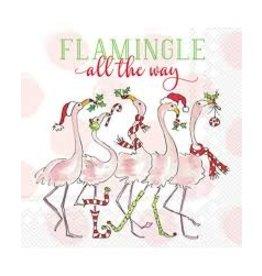 Boston International Holiday Cocktail Napkin, Flamingle All The Way