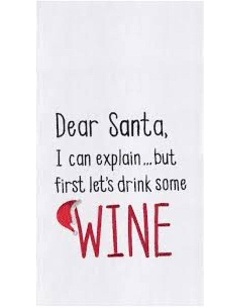 C and F Home Holiday Dish Towel Dear Santa Drink Wine