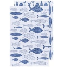 Now Designs Dish Towels Fish Market Royal, Set of 2, floursack