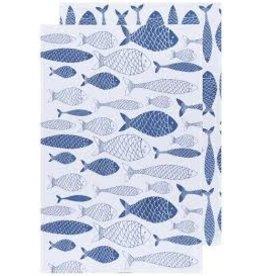 Now Designs Dishtowels Fish Market Royal, Set of 2, floursack