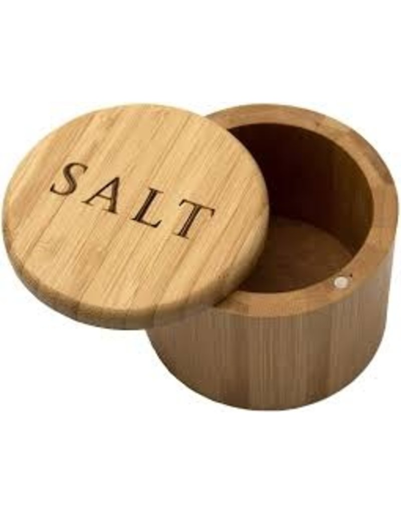 """Totally Bamboo Bamboo Salt Box with Magnetic Swivel Lid, """"Salt"""" Engraving"""