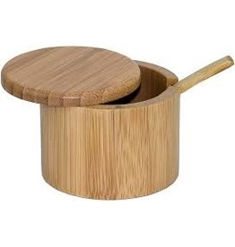 Totally Bamboo Bamboo Round Salt Box with Spoon