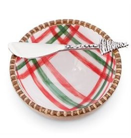 Mudpie Holiday St Nick Tartan Dip Bowl Set, 2pc, plaid white