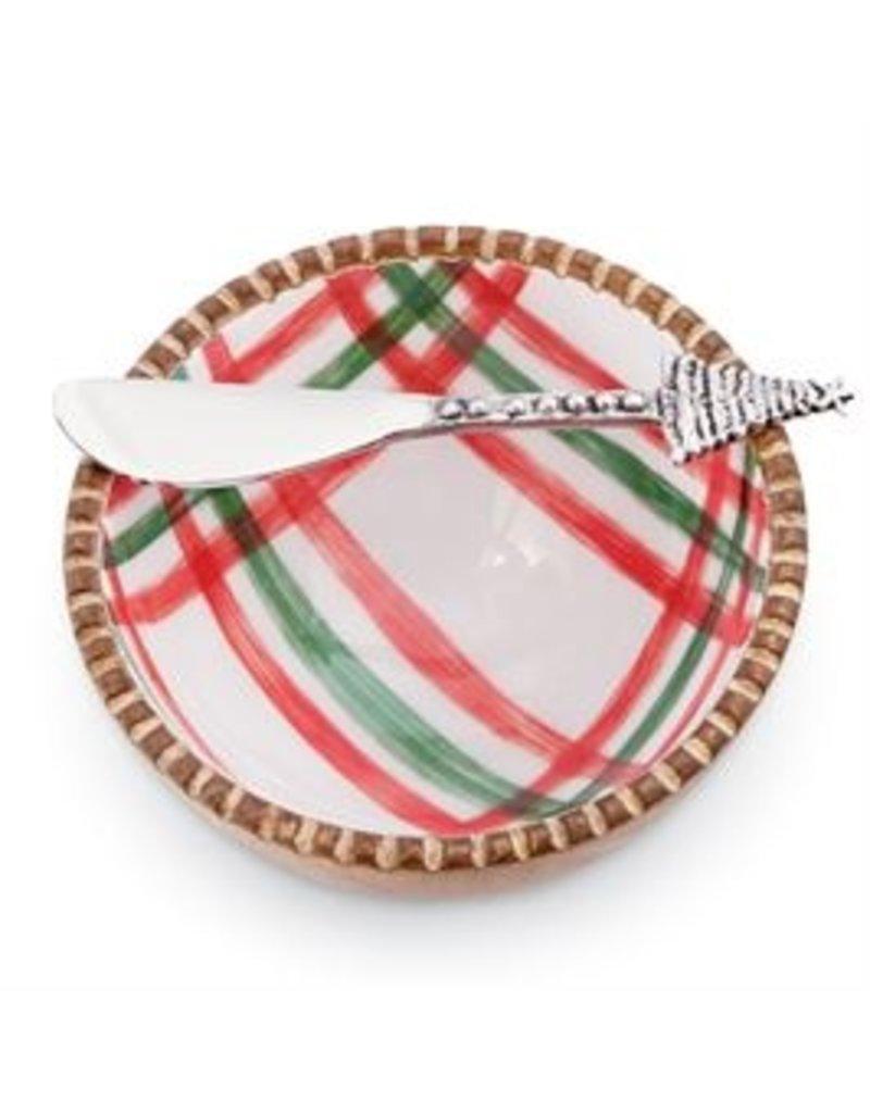 Mudpie Holiday St Nick Tartan Dip Bowl Set, 2pc, plaid white