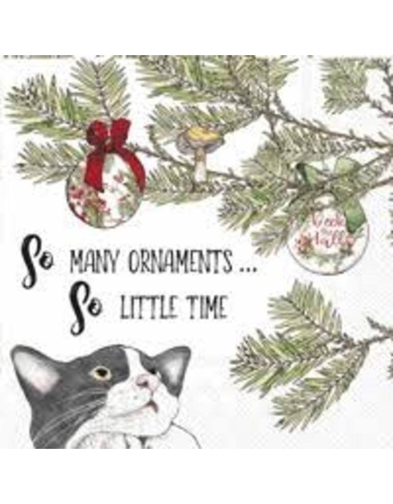 Boston International Holiday Cocktail Napkin, Cat So Many Ornaments