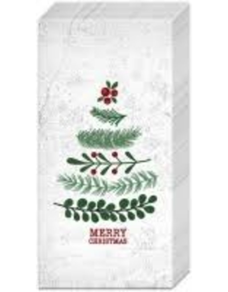 Boston International Holiday Pocket Tissues,  Natural Xmas Tree
