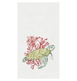 C and F Home Towel Sea Turtle And Coral, waffle weave