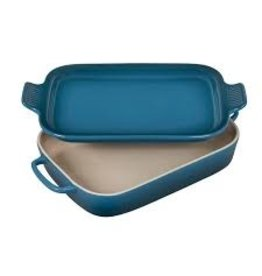 Le Creuset Stoneware Rect Dish w Platter Lid Deep Teal 2.75Qt 14.75x9