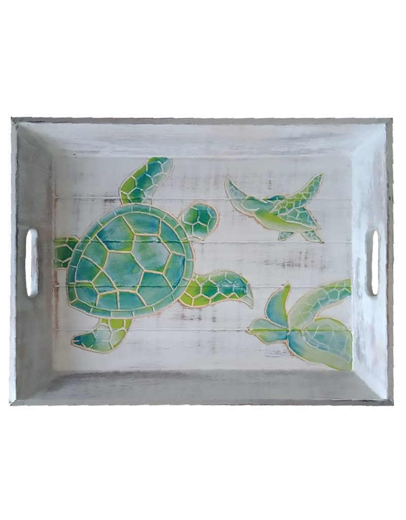 Willow Street/DEI Hand-Carved Sea Turtle Wooden Serving Tray