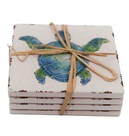 Willow Street/DEI Sea Turtle Ceramic Coasters, Set of 4
