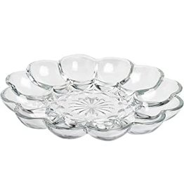 "Foxrun Anchor Hocking Glass Deviled Egg Dish/Platter, 10"""