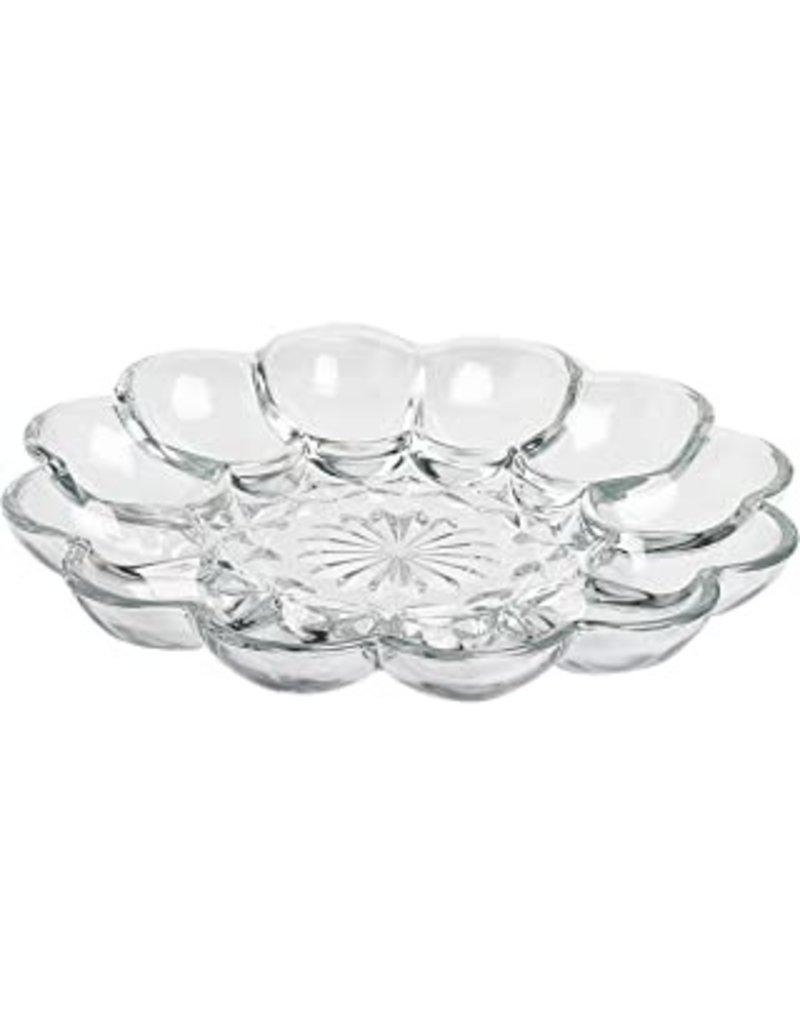 "Foxrun Anchor Hocking Glass 12 Deviled Egg Dish/Platter, 10"""