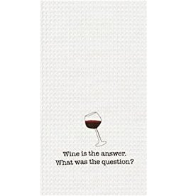 C and F Home Towel, Wine is the Answer, waffle weave