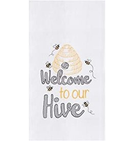 C and F Home Towel, Welcome Bee Hive, floursack