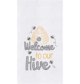 C and F Home Towel, Welcome Bee Hive, floursack