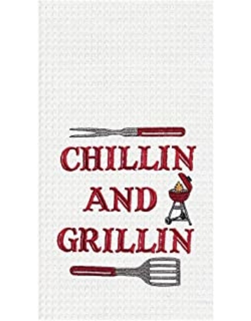 C and F Home Towel, Chillin and Grillin, waffle weave