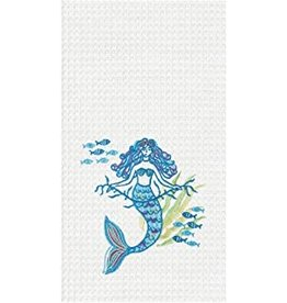 C and F Home Towel, Mermaid Garden, waffle weave