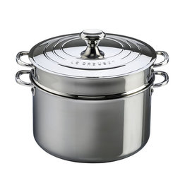 Le Creuset Stainless 9qt Stockpot with Colander Insert and Lid