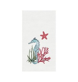 C and F Home Towel, Shellwood Seahorse, waffle weave